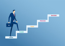 Businessman Walking On Stair Step To Success. Staircase To Success. Cartoon Vector Illustration.