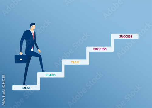 Businessman Walking On Stair Step To Success Staircase To Success Cartoon Vector Illustration Buy This Stock Vector And Explore Similar Vectors At Adobe Stock Adobe Stock
