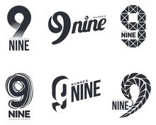Set Of Black And White Number Nine Logo Templates, Vector Illustrations Isolated On White Background. Black And White Graphic Number Nine Logo Templates - Technical, Organic, Abstract