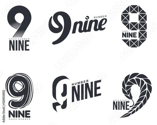 Fotografia  Set of black and white number nine logo templates, vector illustrations isolated on white background