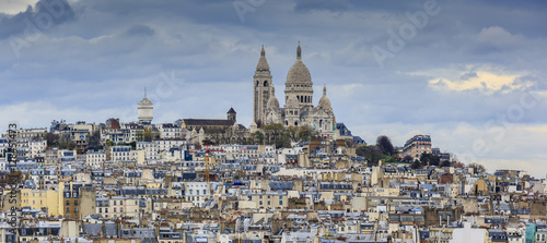 Fotografie, Obraz Montmartre and Sacre-Coeur church, Paris citiscape view over the