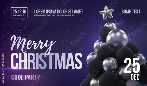 Christmas Card Or Flyer Template With Silver Christmas Tree Buy