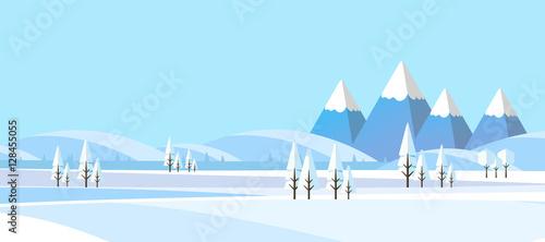 Fotografia Winter Landscape Background. Flat Vector Illustration