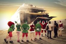 Big Ship And Santa Claus