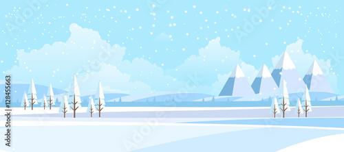 Winter Landscape Background. Flat Vector Illustration