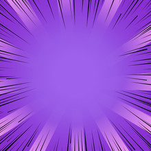 Manga Comic Book Flash Purple Explosion Radial Lines Background.