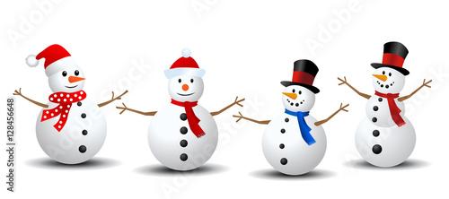 Fotografie, Obraz Snowman Collection. Snowman set isolated on white background
