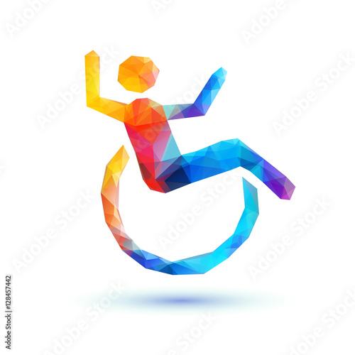 Valokuva  Happy disabled people. Polygonal sign
