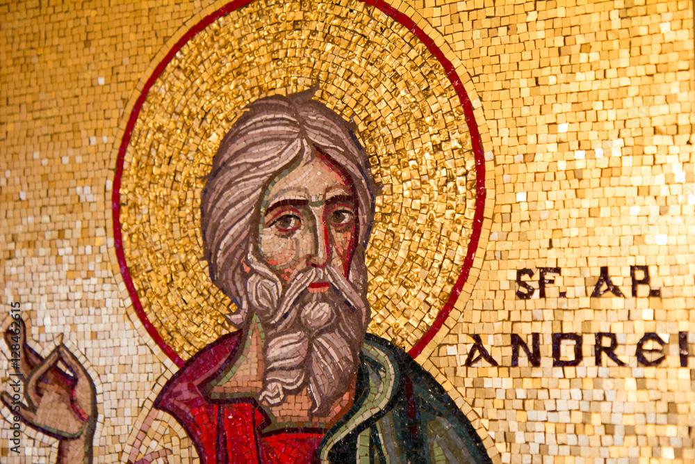 Fototapety, obrazy: Vienna, Austria, 2016/11/26. Mosaic icon of saint Andrew the Apostle. The gift for Joseph Cardinal Schonborn the Roman Catholic Archbishop of Vienna, from Orthodox Patriarch Daniel of Romania.