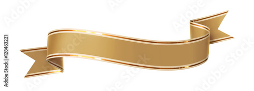 Fotografie, Obraz  Curled golden ribbon banner with gold border - arc up and down with wavy ends