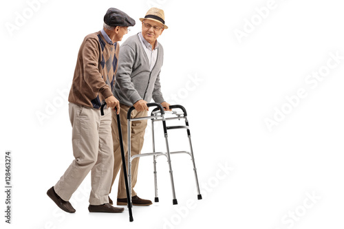 Fototapeta Mature man with walker and another man with cane
