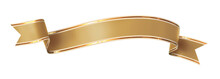 Curled Golden Ribbon Banner With Gold Border - Arc Up And Wavy Ends - Front And Back