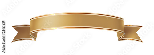 Curled golden ribbon banner with gold border - arc up and wavy ends #128463637