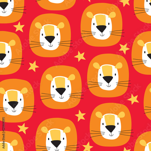 Cotton fabric seamless cute lion cartoon pattern vector illustration