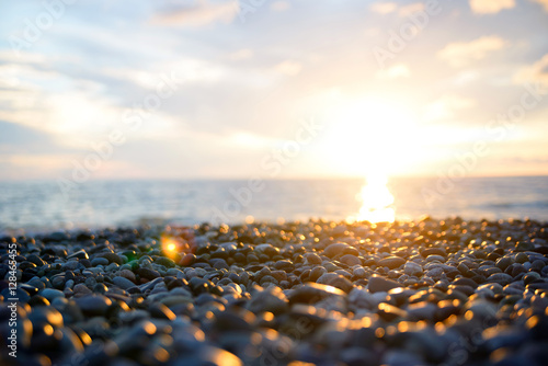Fotografie, Obraz sunset on pebble beach