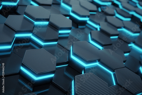 Blue abstract hexagonal glowing background, futuristic concept. 3d rendering - 128466248
