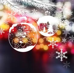 Fototapeta Boże Narodzenie/Nowy Rok Christmas ball design on bokeh background