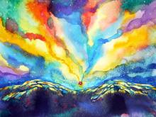 Abstract Mountain Sky Watercol...