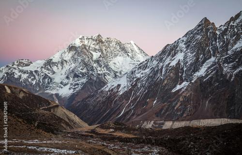 Fotografiet  Himalayas mountains after sunset, Nepal