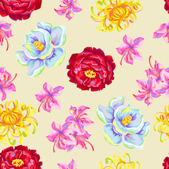 FototapetaSeamless pattern with China flowers. Bright buds of magnolia, peony, rhododendron and chrysanthemum