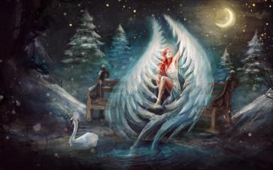 anioł miłości w uschniętym lesie