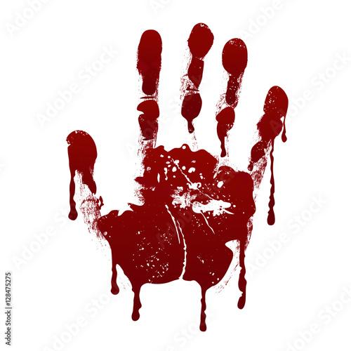 Fotografia, Obraz  Bloody handprint. Horror dirty scary blood vector background