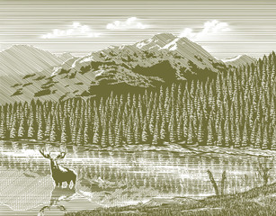 Fototapeta Las Woodcut illustration of a mountain scene with a moose in the foreground.