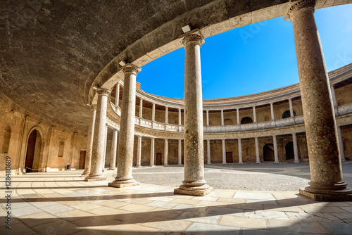 Fotomural  Arcade with columns of Alhambra palace Charles V in Granada. And