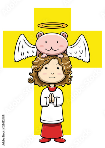 Little christian acolyte with angelic creature Wallpaper Mural