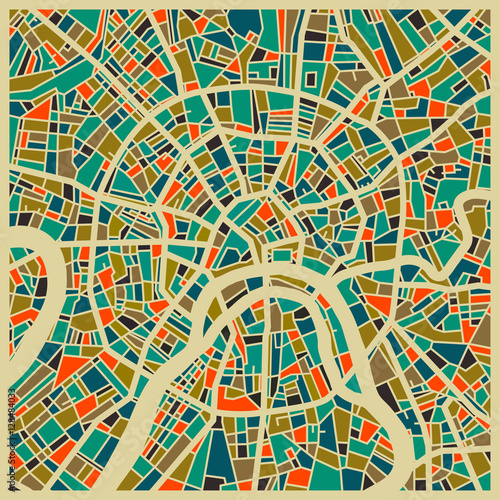 Fotografie, Obraz Moscow colourful city planMoscow vector map