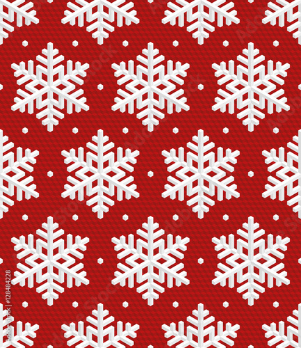 Cotton fabric Traditional Christmas Seamless Pattern with Isometric 3D Snowfla