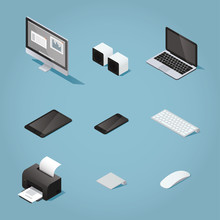 Isometric Digital Vector Objects Set Illustration. Collection Of Computers And Supplies: Desktop, Speakers, Laptop, Tablet, Phone, Keyboard, Printer, Trackpad, Mouse.