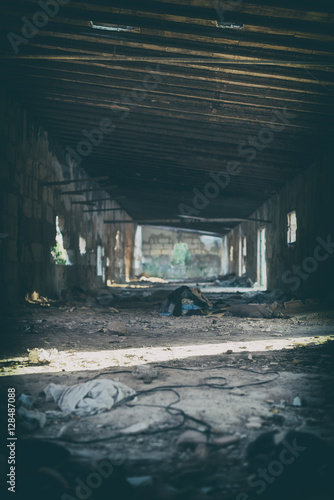 Canvas Prints Light pink Interior of old abandoned building.