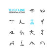 Yoga Poses - Thick Single Line Icons Set