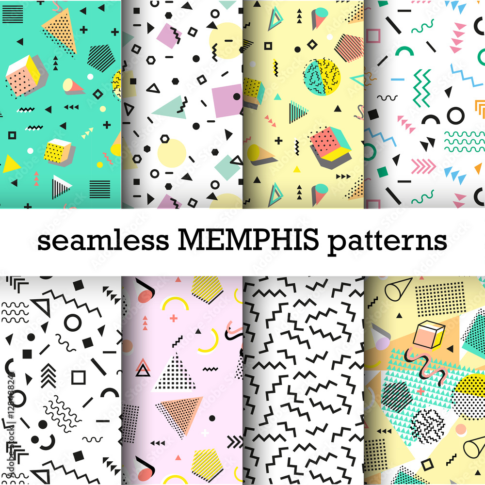 Fototapeta Retro vintage 80s or 90s fashion style. Memphis seamless patterns set. Trendy geometric elements. Modern abstract design. Good for textile fabric. Vector illustration.