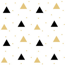 Gold Black Scandinavian Seamless Vector Pattern Background Illustration With Triangle