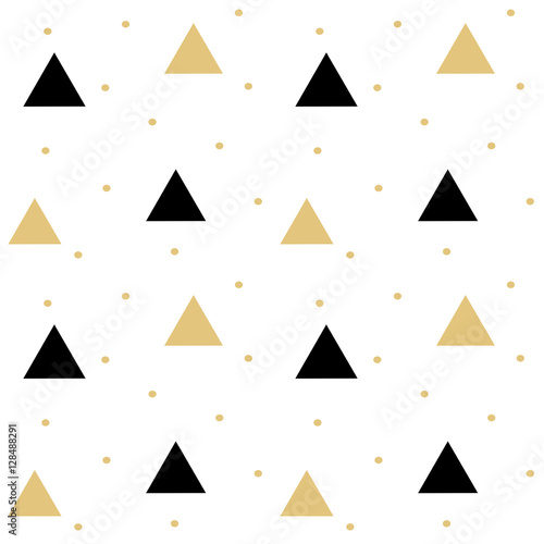 Vászonkép  gold black scandinavian seamless vector pattern background illustration with tri