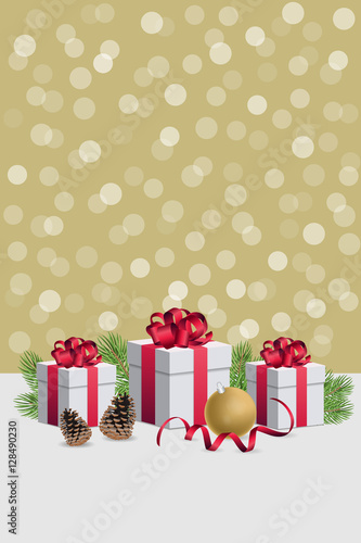 Christmas Gift Boxes Wirh Decorations And Fir Branches On Golden Bokeh Background Vertical Composition