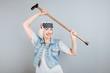 Charming emotional senior lady holding stick