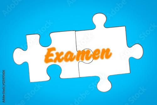 Foto  Examen auf Puzzleteile