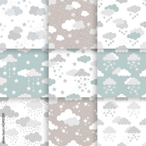 Set of Scandinavian trend seamless winter pattern Minimalistic xmas