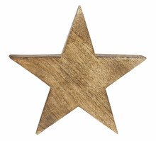 Wooden Christmas Star Ornament Isolated On White