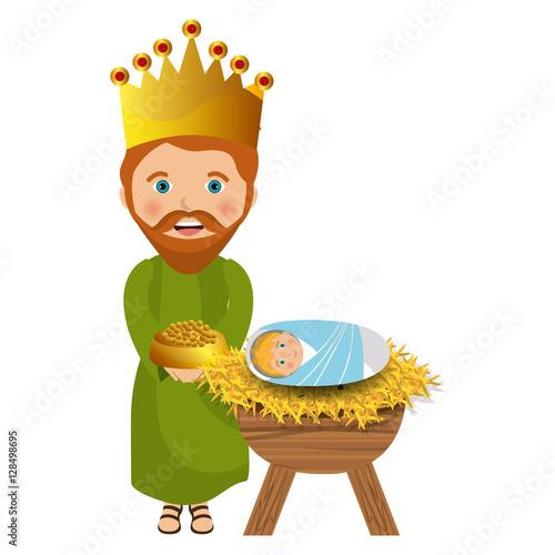 Photo happy epiphany card manger character vector illustration design