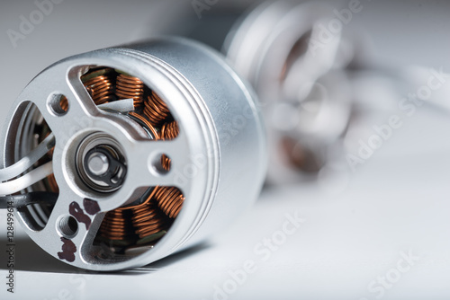 Photo Close up of two metal motor armatures