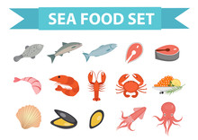 Seafood Icons Set Vector, Flat...