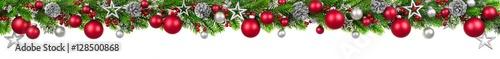 Carta da parati  Weihnachten Girlande, rot und silber geschmückt als Bordüre für oben, extra brei