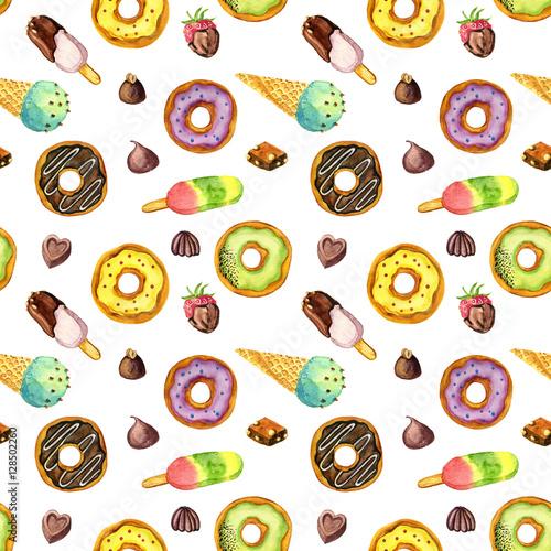 Materiał do szycia wzór z akwarela lody, pączki i cukierki