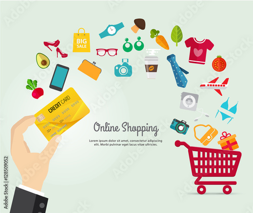 0649dce64ef Online shopping e-commerce concept. business order item store online on  smartphone