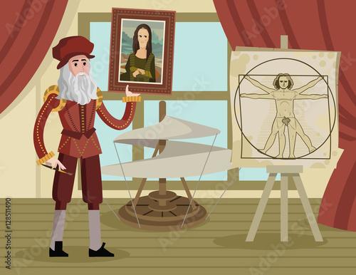 da vinci vitruvian man drawing and helicopter and mona lisa Wallpaper Mural