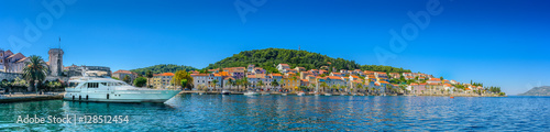 Korcula town panorama waterfront. / Waterfront panorama of famous Adriatic destination, Korcula town, Croatia islands, Europe.